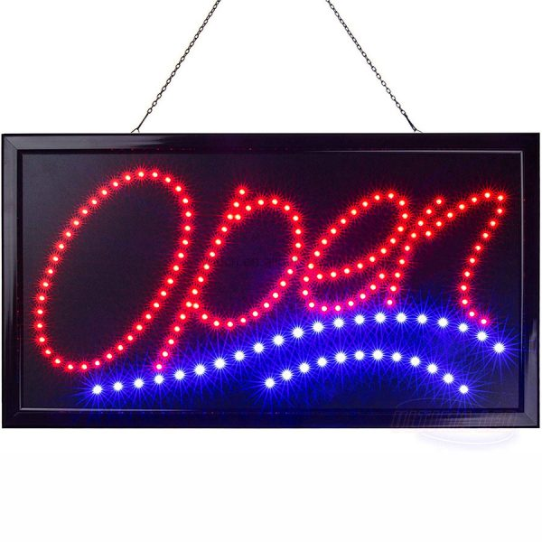 With Static Flashing Patterns Modes LED Neon Open Sign Stores Bars Barber Shops Electric Light Up LED Sign Display