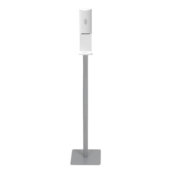Floor stand aluminum menu a3 a4 poster banner stand with automatic liquid dispenser hand soap sanitizers display