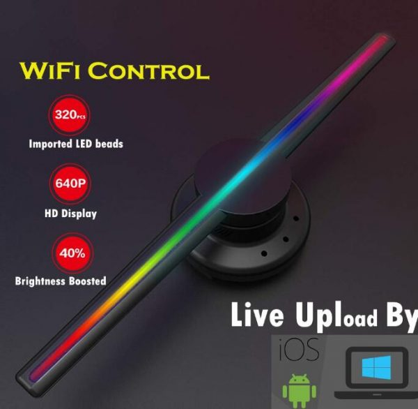 2019 DH02 Factory WIFI Control 3D Hologram fan compatible with iPhone Android Smartphone 640P HD holographic projector display