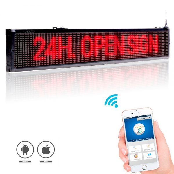 101CM Wifi wireless remote Programmable Advertising LED Text Temperature Display Board, indoor Red display Screen for Busines