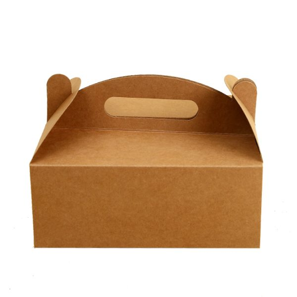 Hot Selling Customized Kraft Paper Food Grade Take Away Box Package With Handle